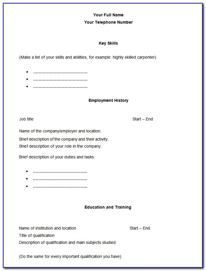 Blank Resume Outline Pdf