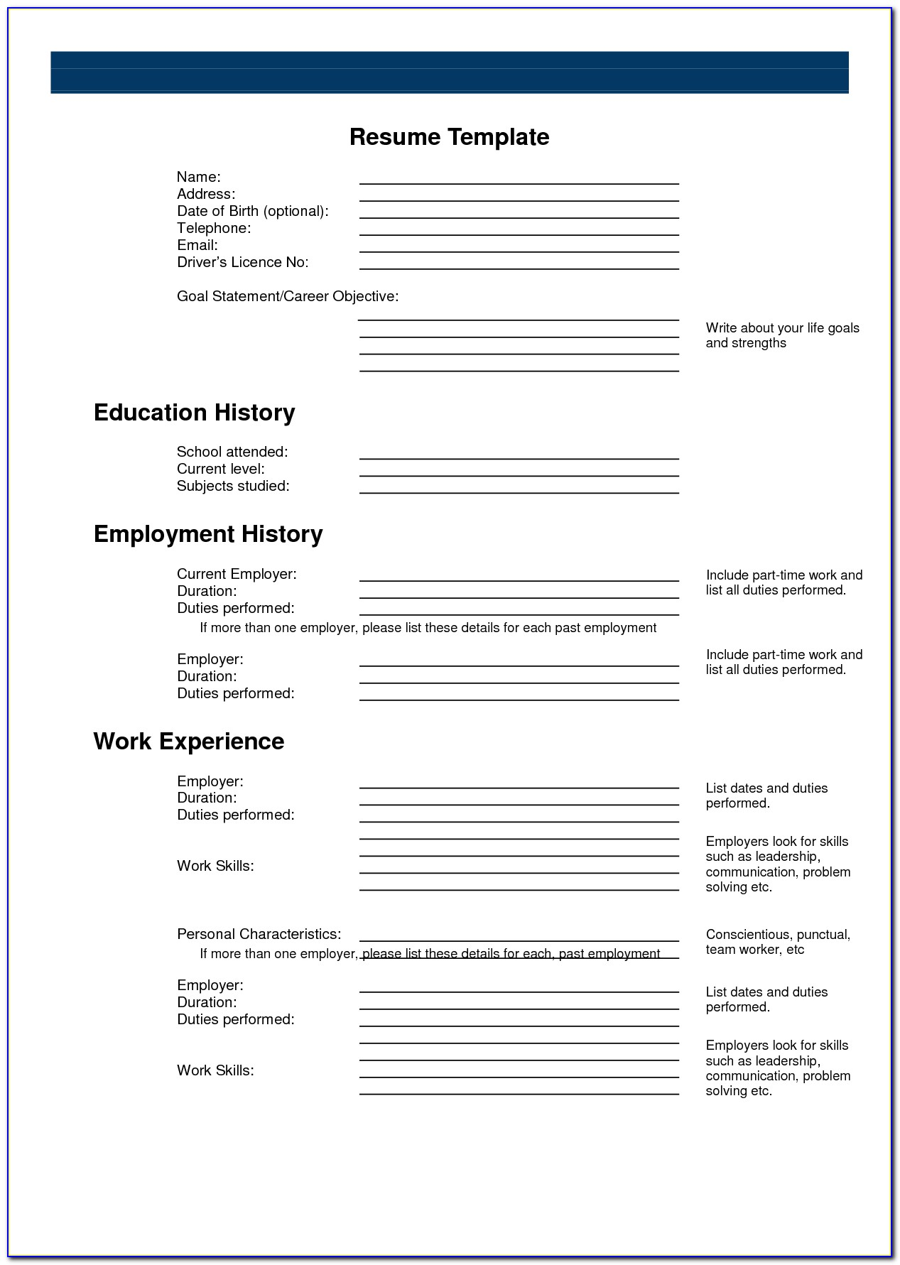 Blank Resumes To Print