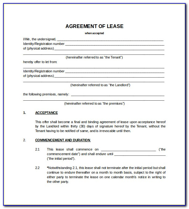 Blank Room Rental Agreement Form