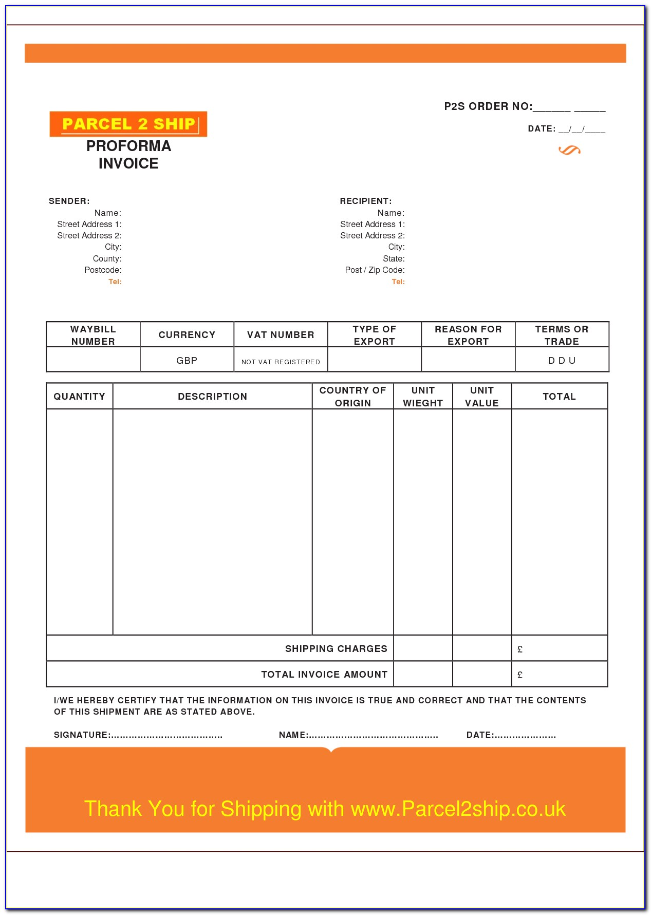 Blank Templates Of Invoices