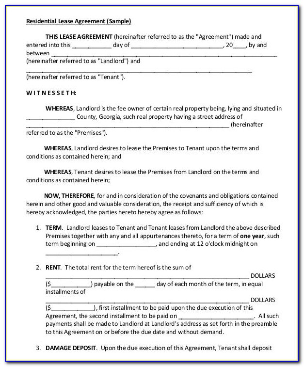 Blank Vehicle Lease Form