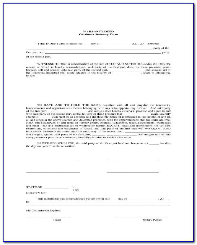 Blank Warranty Deed Form Oklahoma