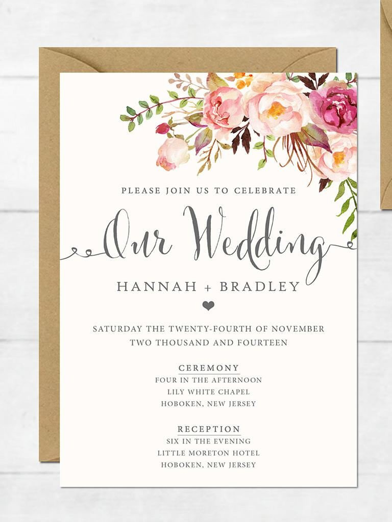 Blank Wedding Invitation Card Design Template Free Download