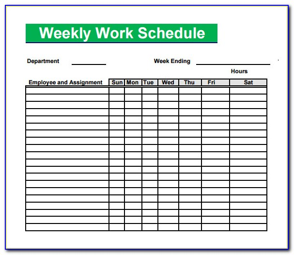 Blank Work Schedule Template Free Vincegray2014