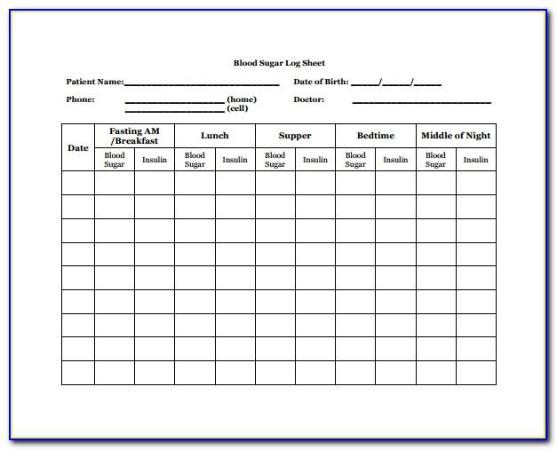 Blood Sugar Log Book Template