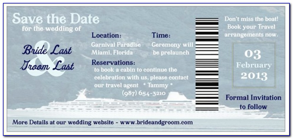 Boarding Pass Wedding Save The Date Template