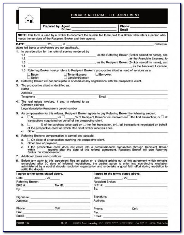 Brokerage Commission Agreement Template Vincegray2014