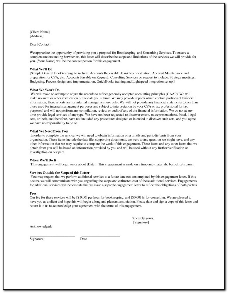 Bookkeeping Engagement Letter Template Download With Bookkeeping Contract Template