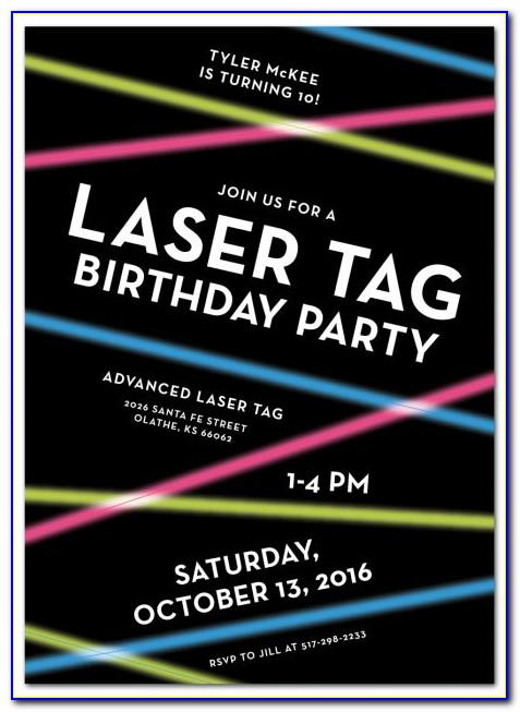 Bowling And Laser Tag Party Invitations Template Free