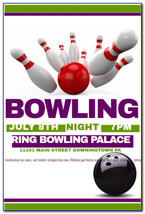 Bowling Birthday Party Flyer Template Free