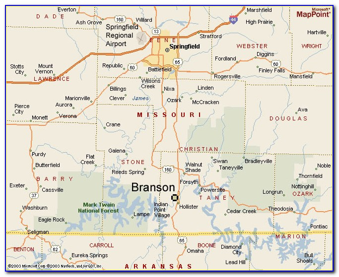 Branson Missouri Map Of Hotels
