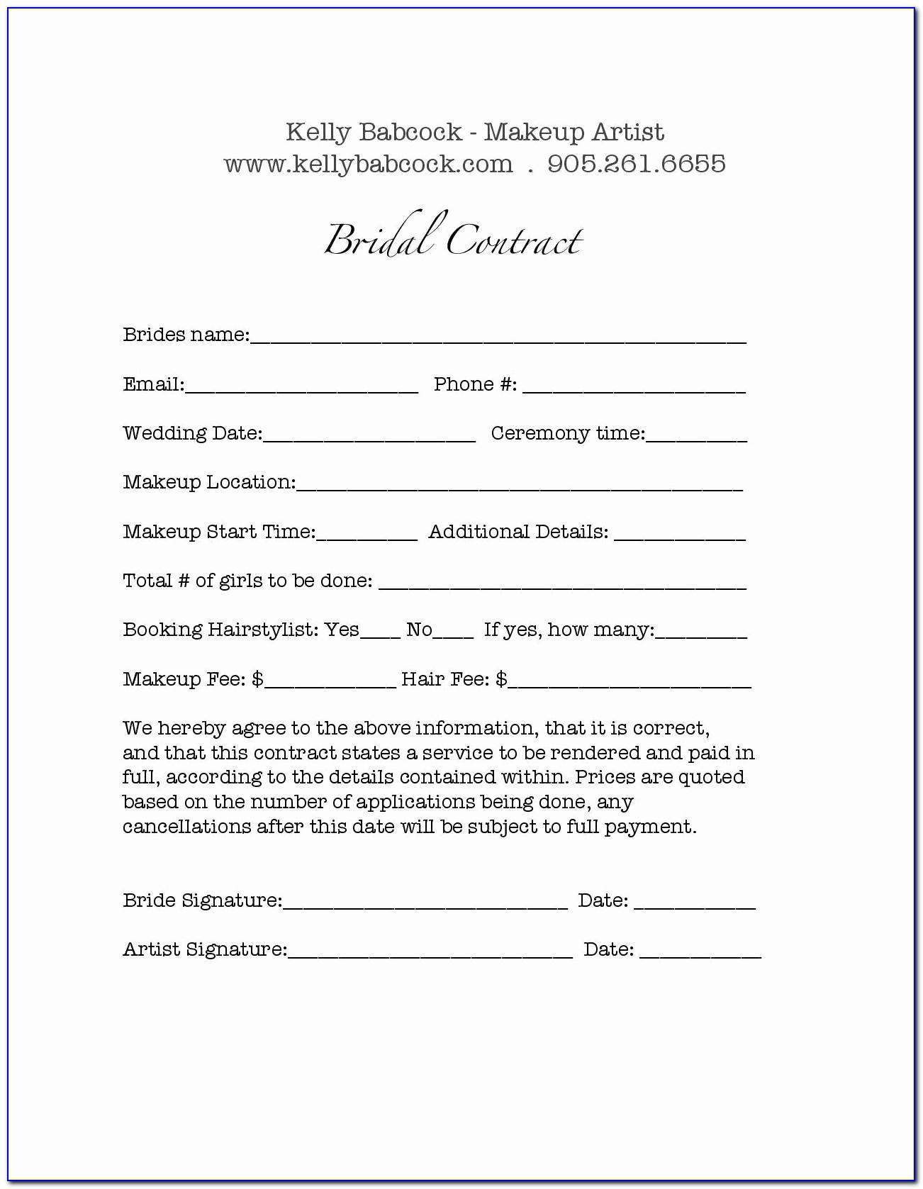 Bridal Makeup Artist Contract Template