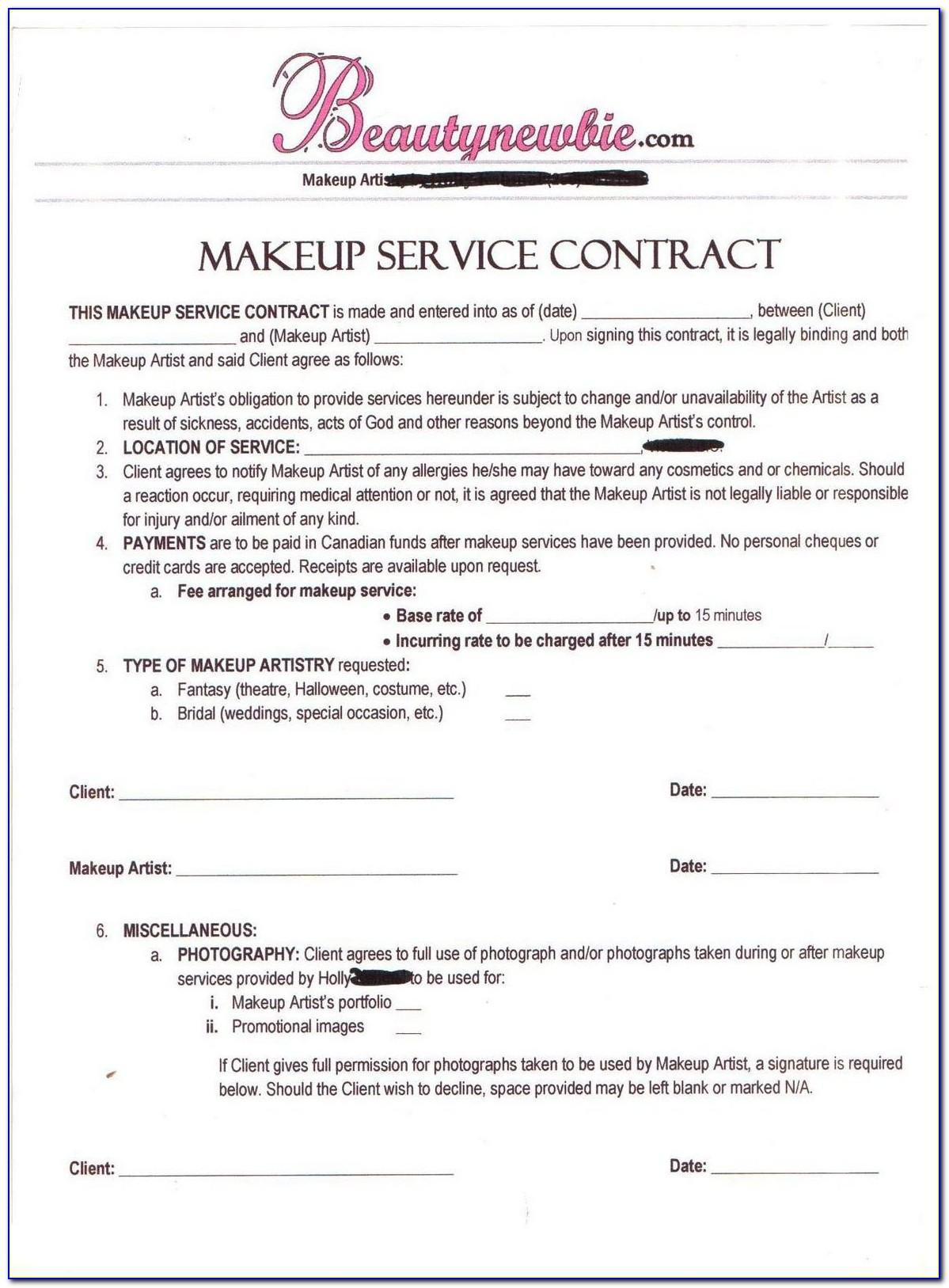 Bridal Party Makeup Contract Template