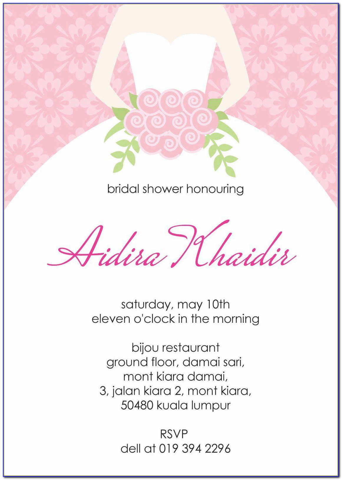 Bridal Shower Invitation Template Email