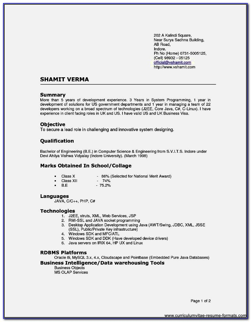 Resume Format For Freshers B.sc Nursing