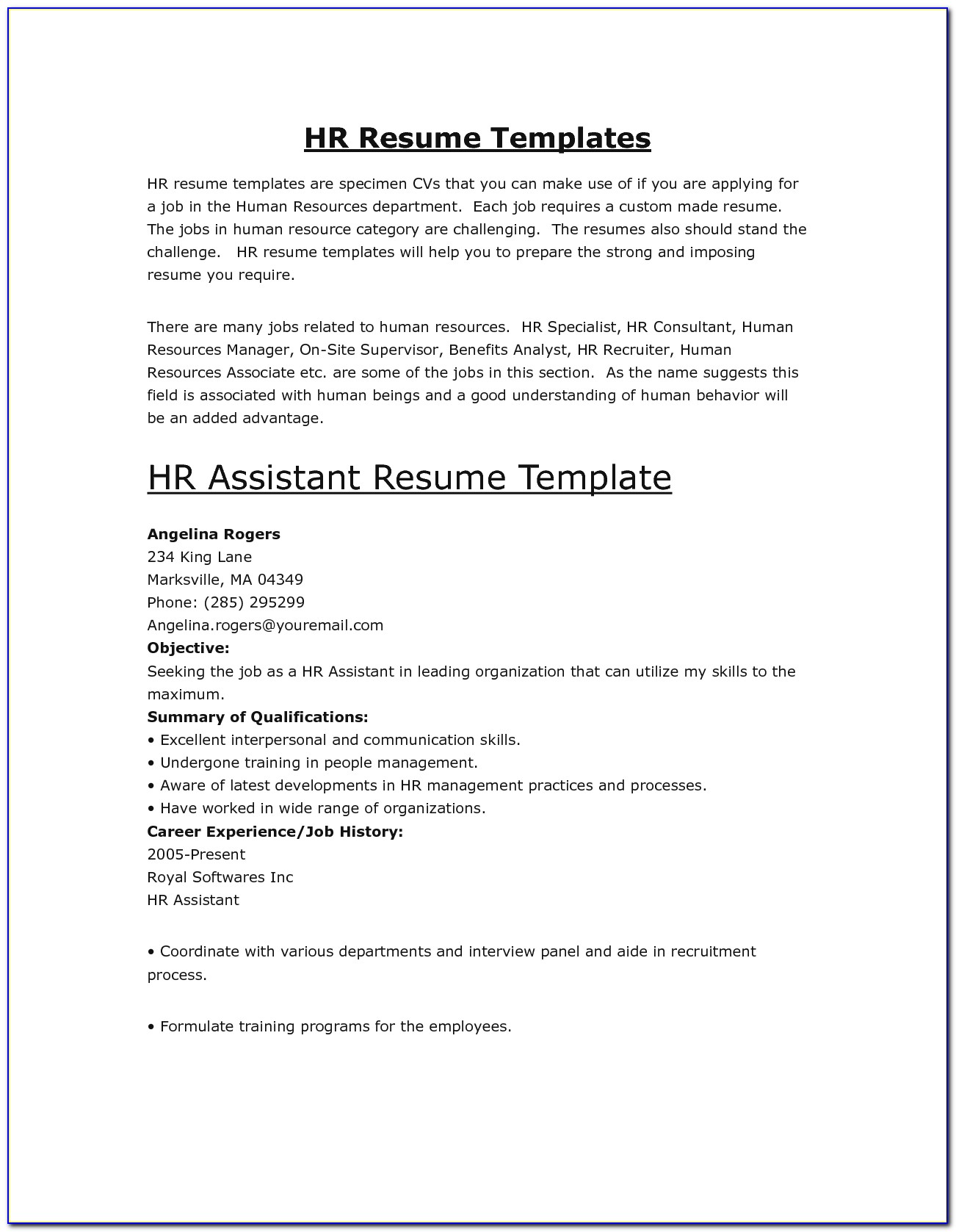 Sample Hr Assistant Resume Human Resources Assistant Resume Sample Human Resources