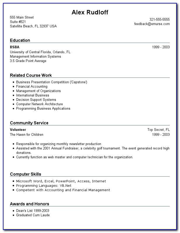 Build Resume With No Work Experience