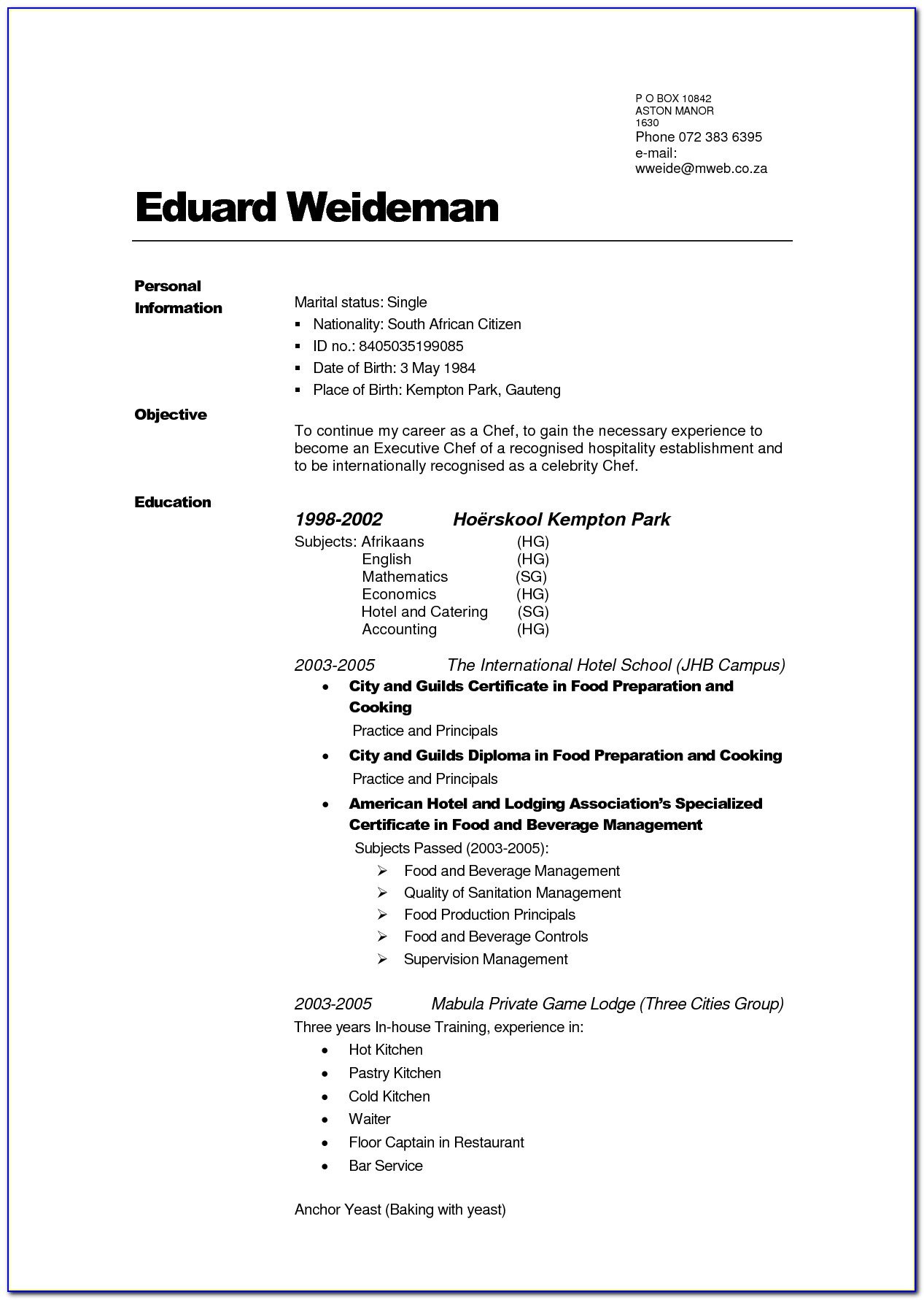 Build Your Own Resume Free