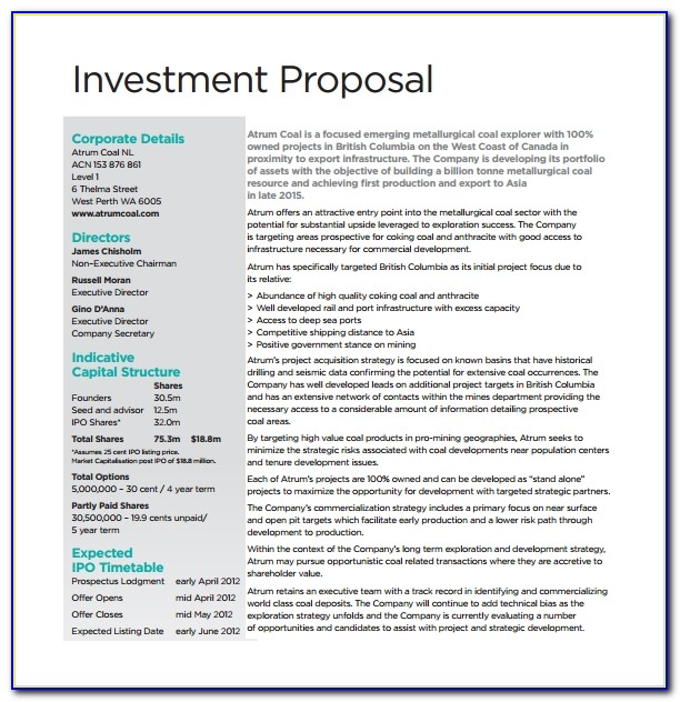 Business Capital Investment Proposal Template