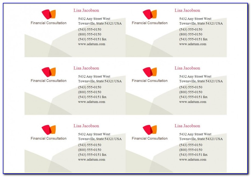 Business Card 8371 Template Free Download