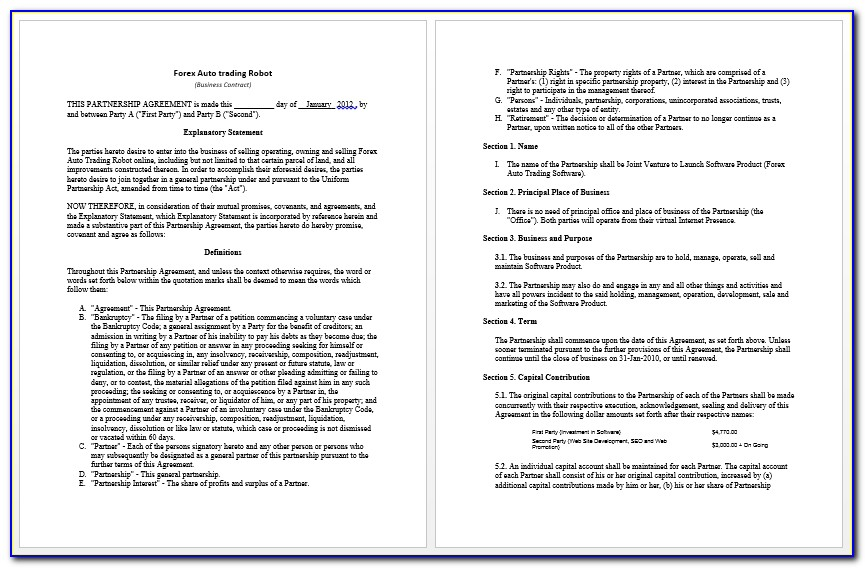 Business Contract Templates Word