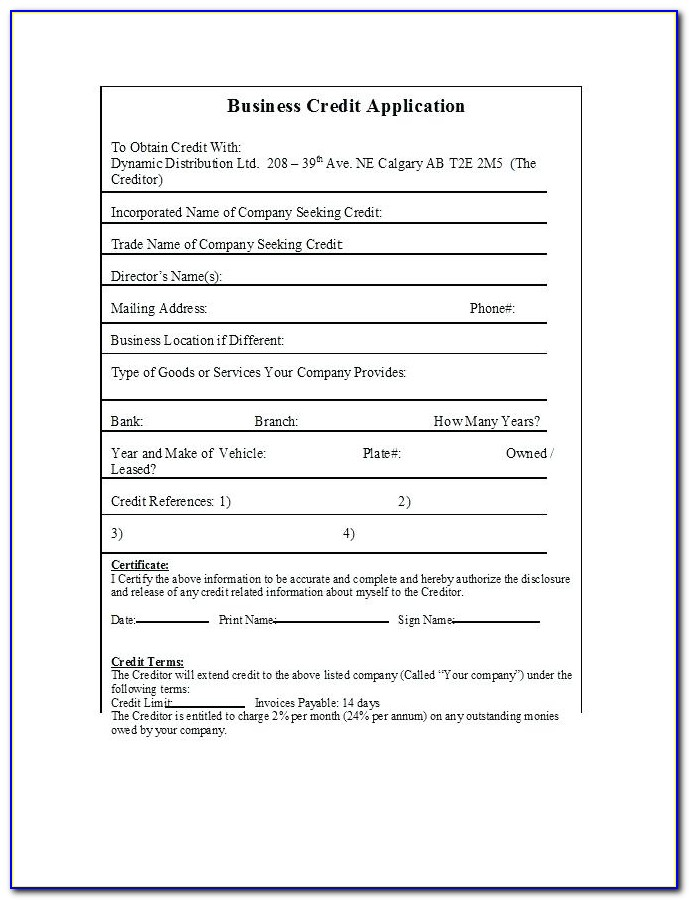 Business Credit Application Form Template Pdf