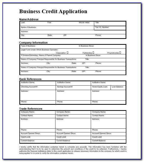 Business Credit Form Template