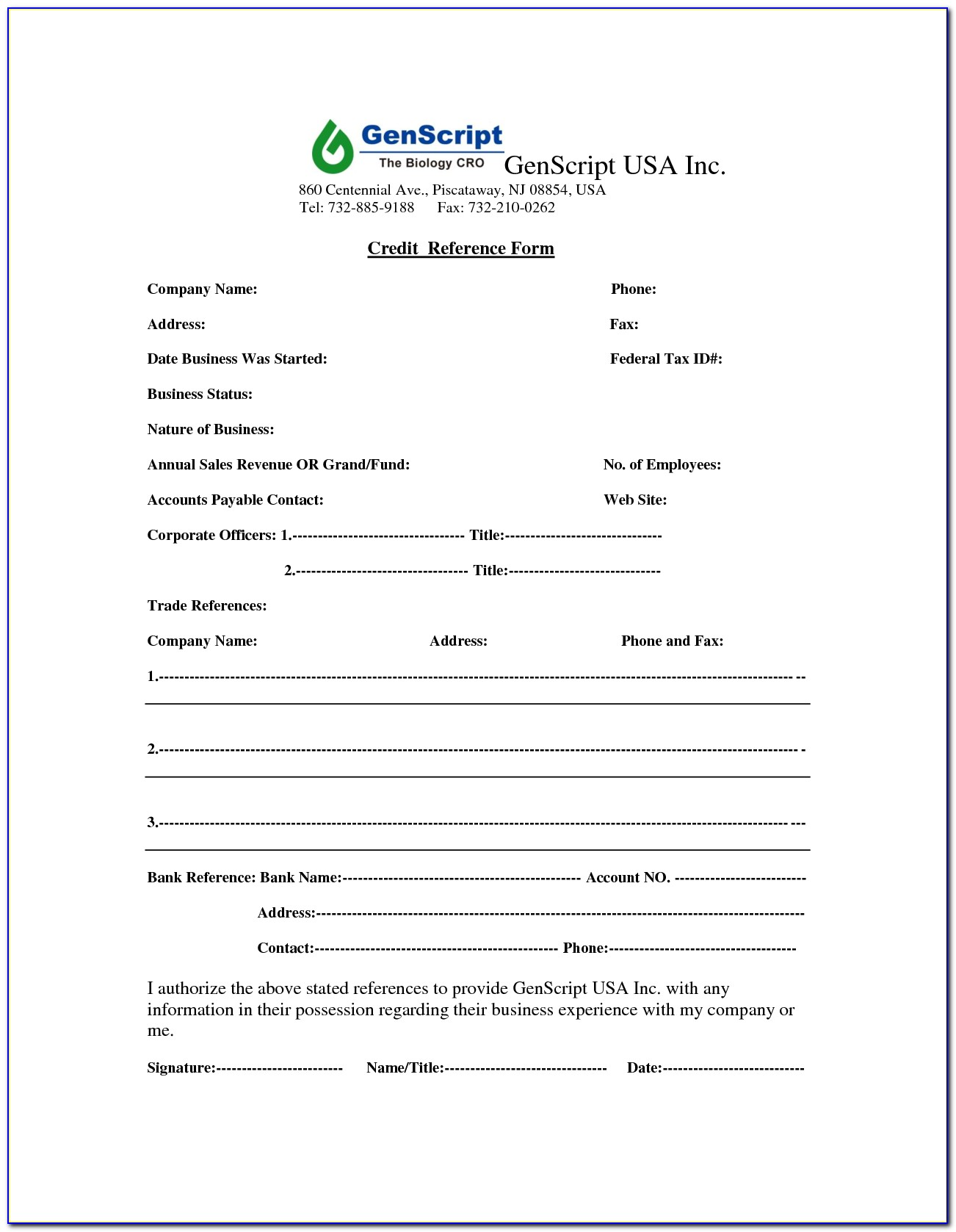 Business Credit Reference Check Form Template