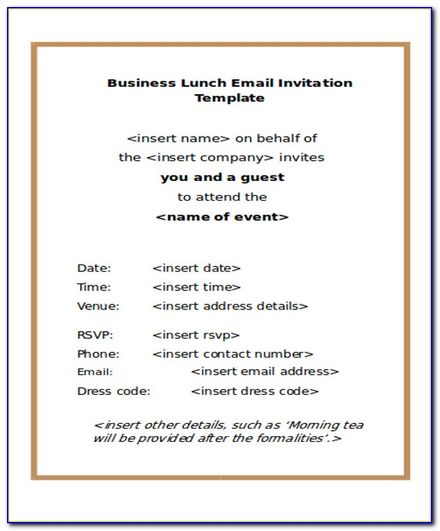 Business Dinner Invitation Sample