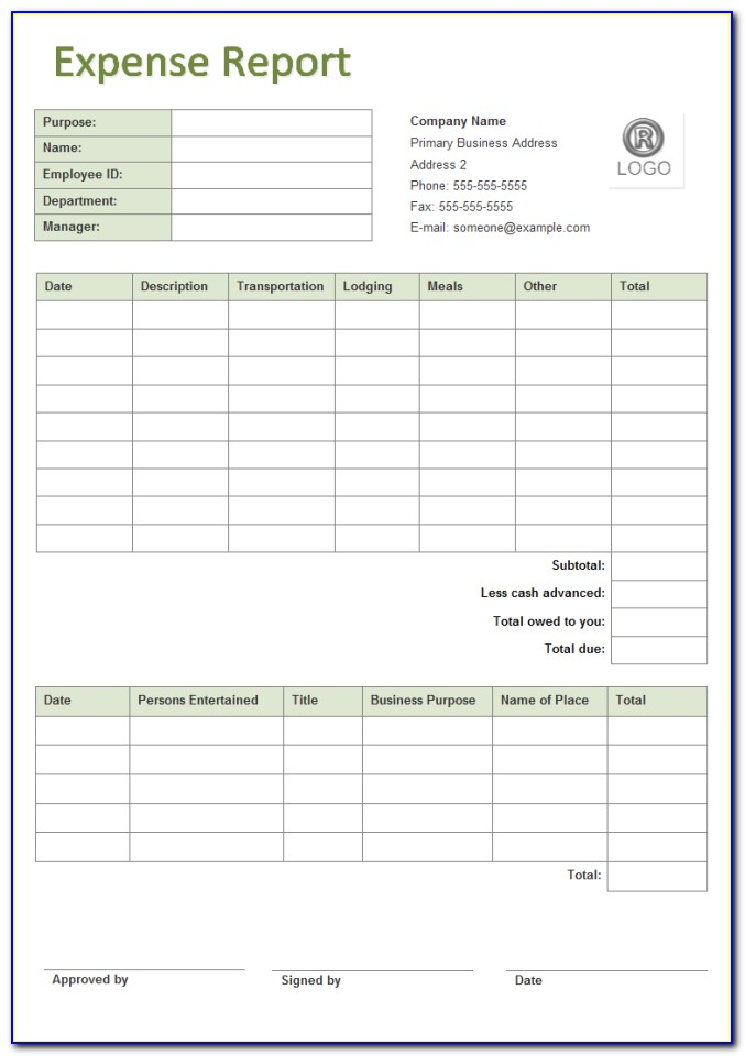 Business Expense Report Form Excel