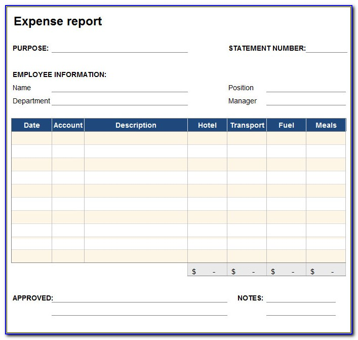 Business Expense Report Template Free