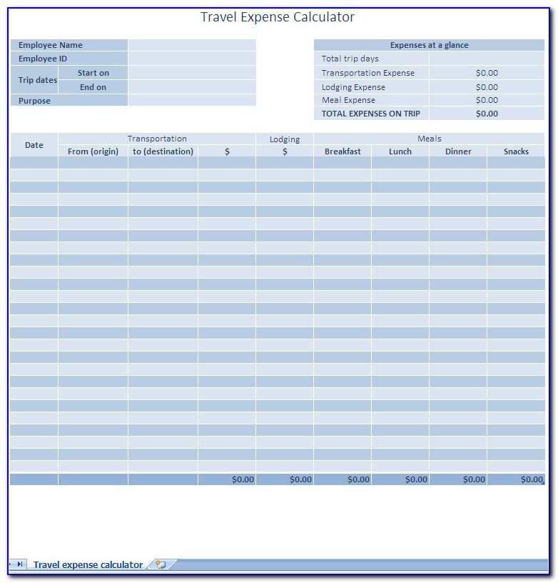 Business Expenses Spreadsheet Example