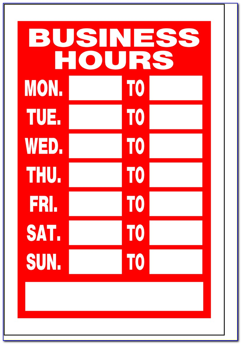 Business Hours Sign Template Excel