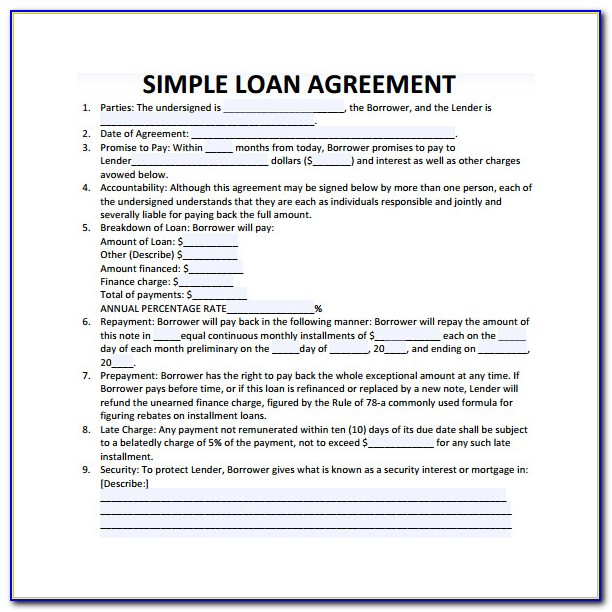 Business Loan Agreement Template Pdf