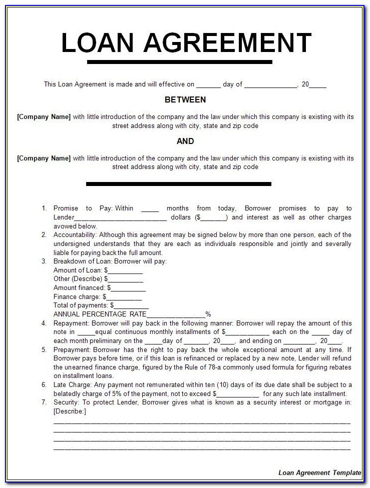 Business Loan Contract Template Free