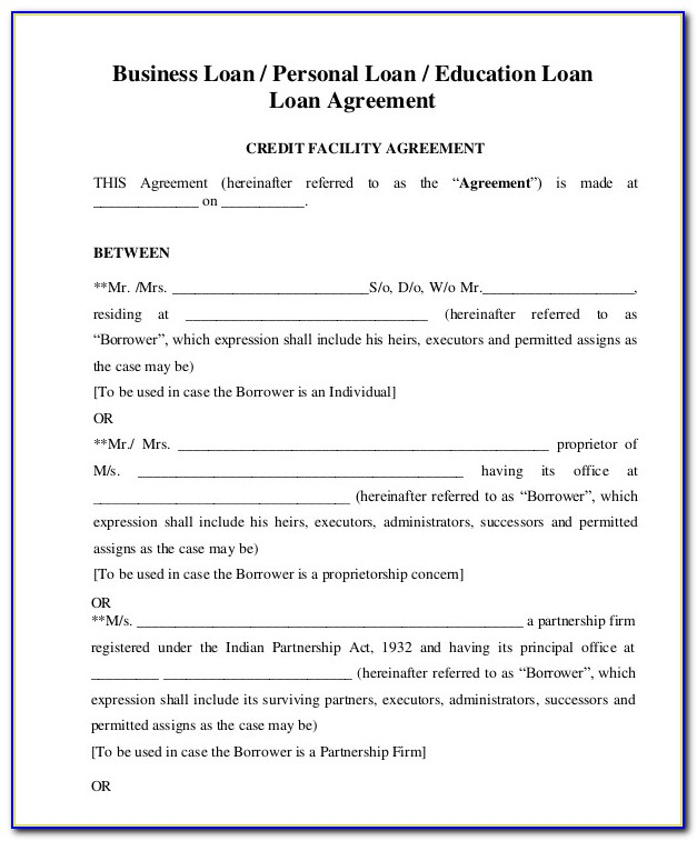 Business Loan Document Template