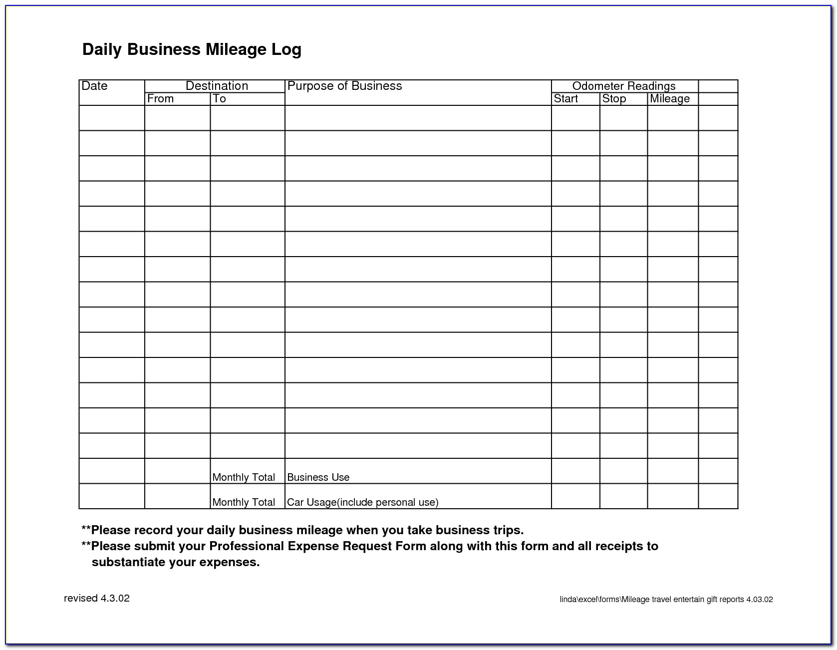 Business Mileage Record Template