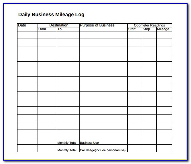 Business Mileage Tracking Form Vincegray2014