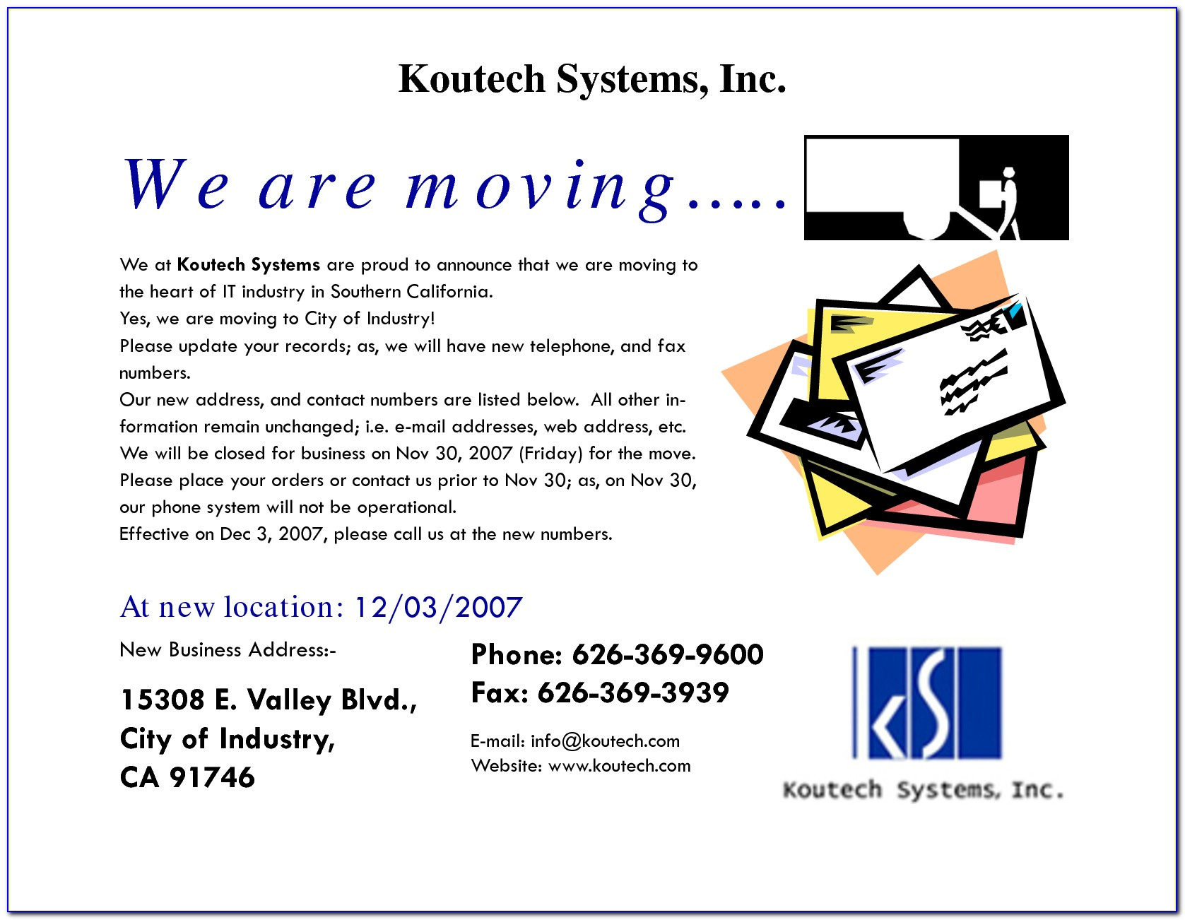 Business Moving Announcement Letter