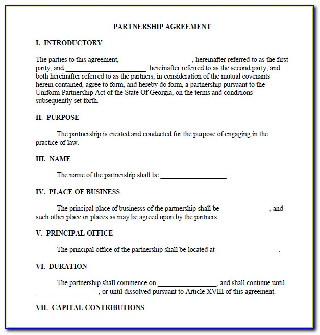 Business Partnership Agreement Template Free Download