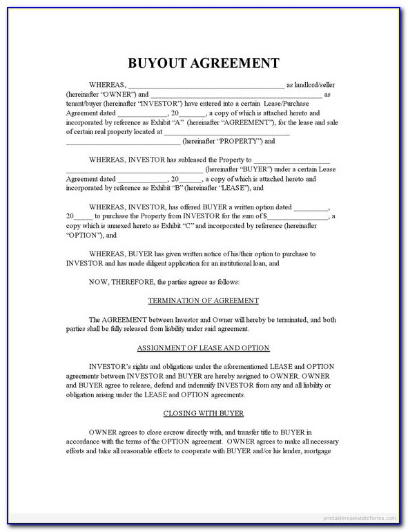 Buyout Agreement Form For Real Estate