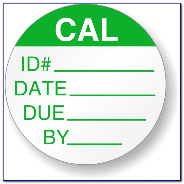 Calibration Stickers Template