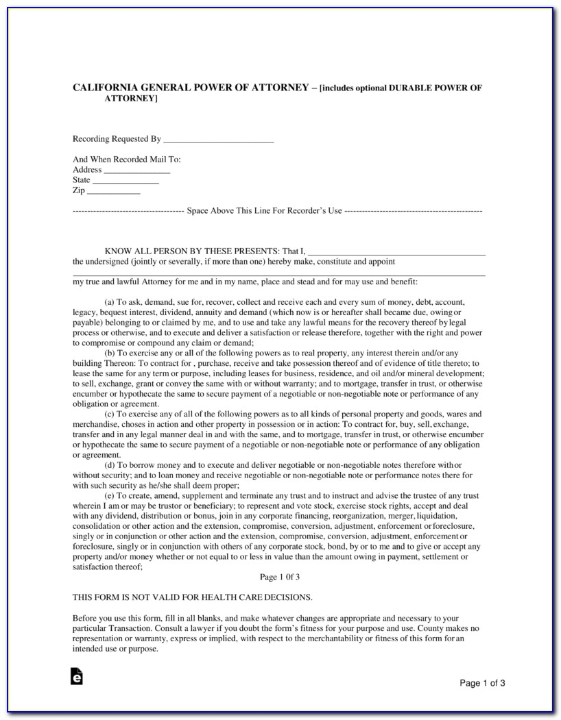 California General Power Of Attorney Fillable Form