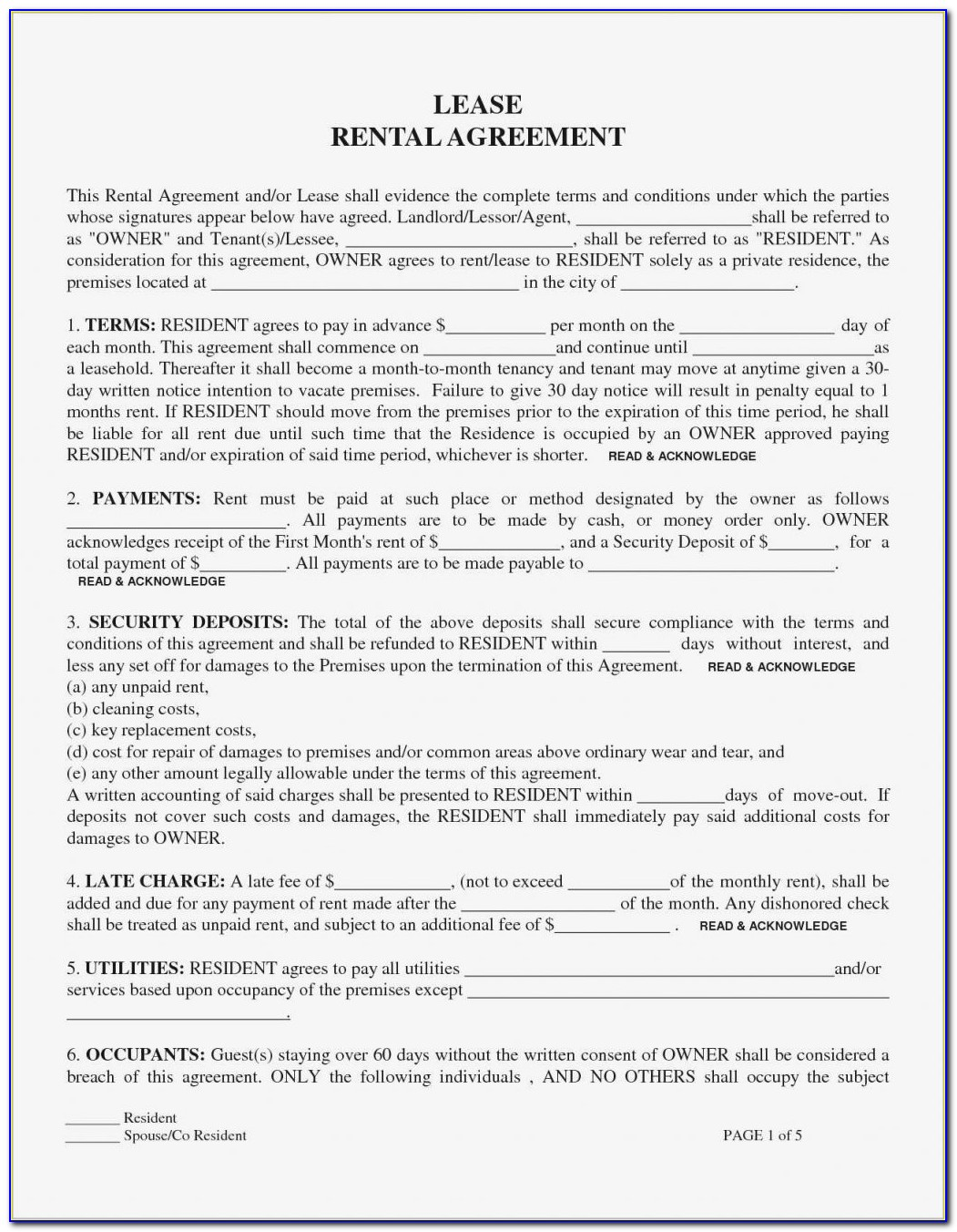 California House Rental Lease Agreement Form