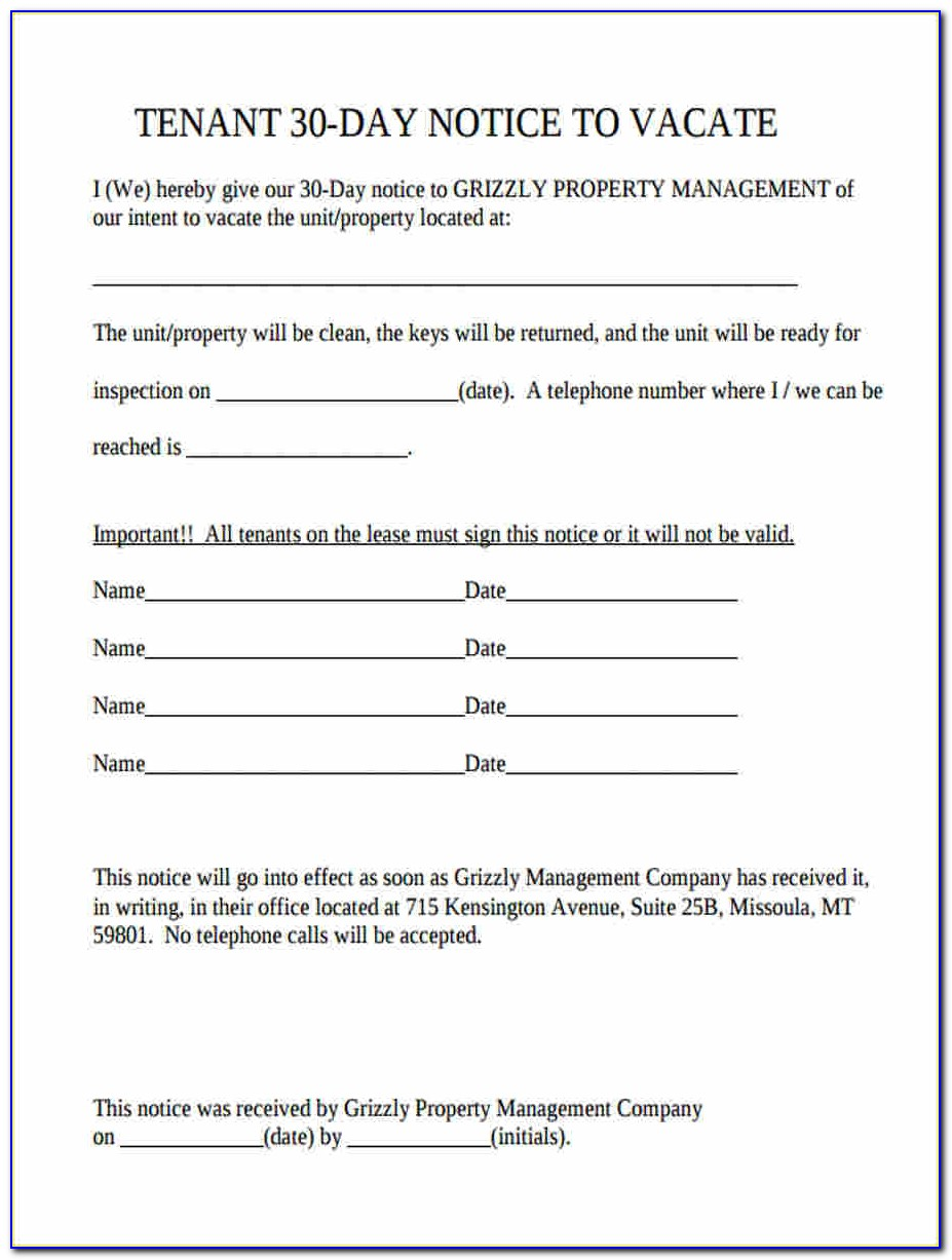 California Landlord 30 Day Notice To Vacate Form