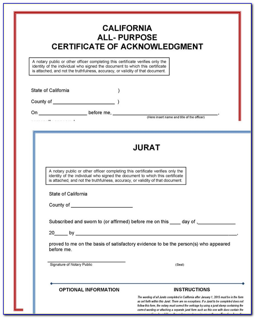 California Notary Forms Of Identification