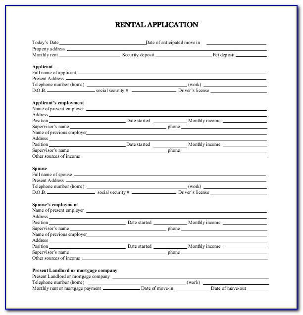California Rental Application Form Word