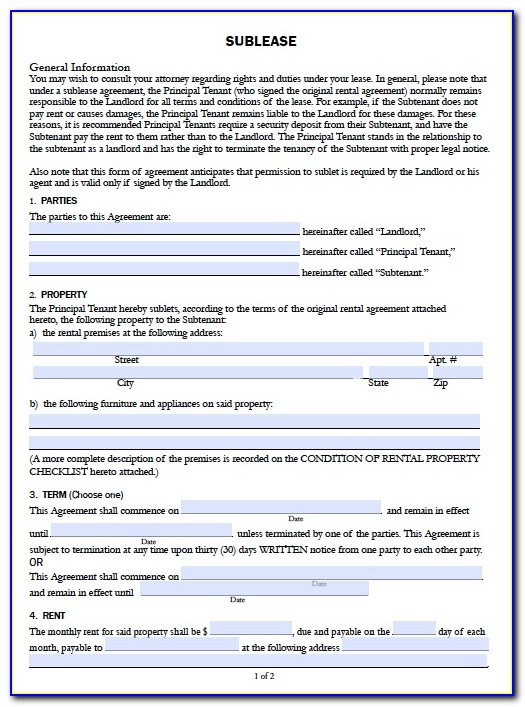 California Residential Lease Agreement Form Pdf