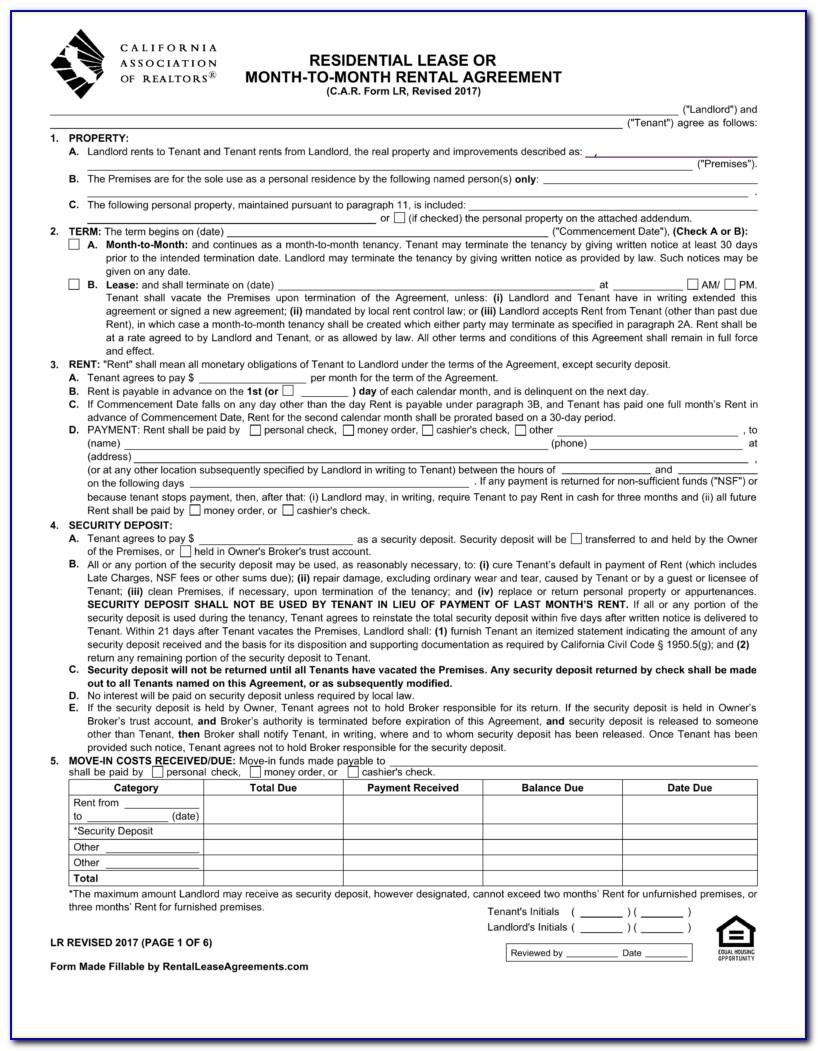 California Residential Lease Agreement Template