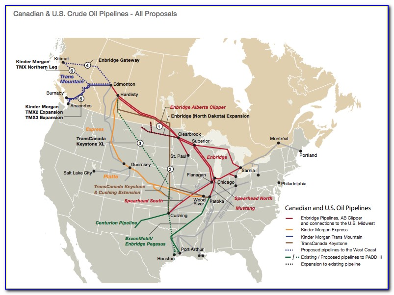Canadian Oil Pipeline Map